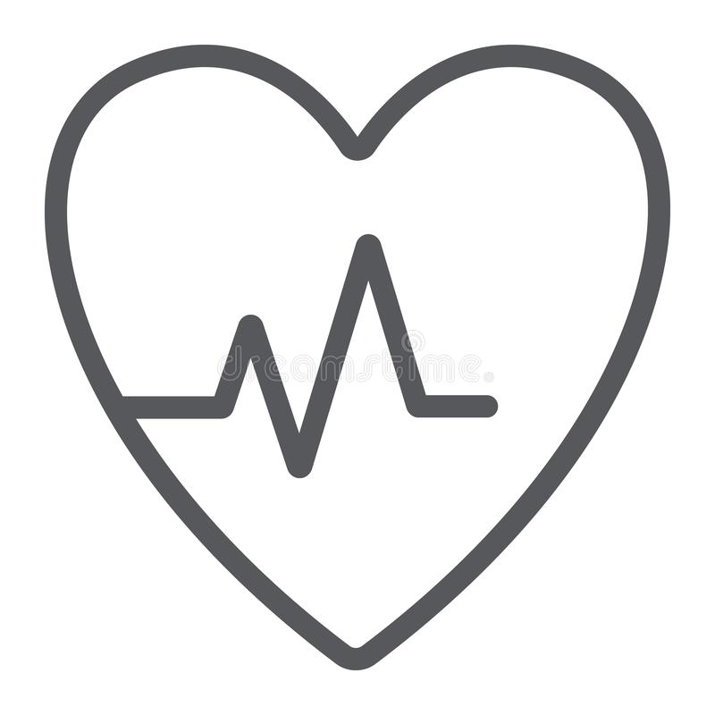 Heartbeat line icon, cardiogram and heart, pulse sign, vector graphics, a linear pattern on a white background. Heartbeat line icon, cardiogram and heart, pulse royalty free illustration