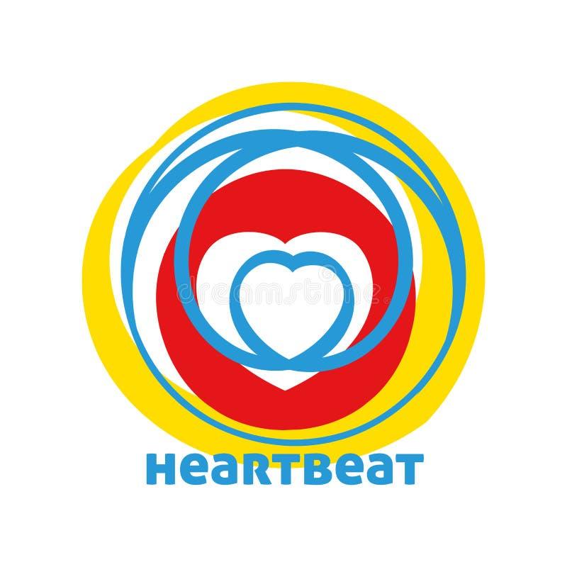 heartbeat Logotipo simples com coração Logotype do gráfico de vetor ilustração do vetor