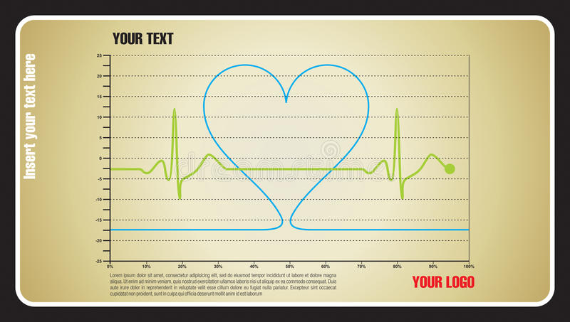 Heartbeat love. Heartbeat in a graphic with sample text vector illustration