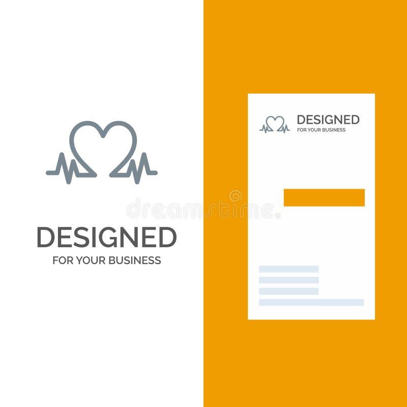 Heartbeat, Love, Heart, Wedding Gray Logo Design and Business Card Template ilustração do vetor