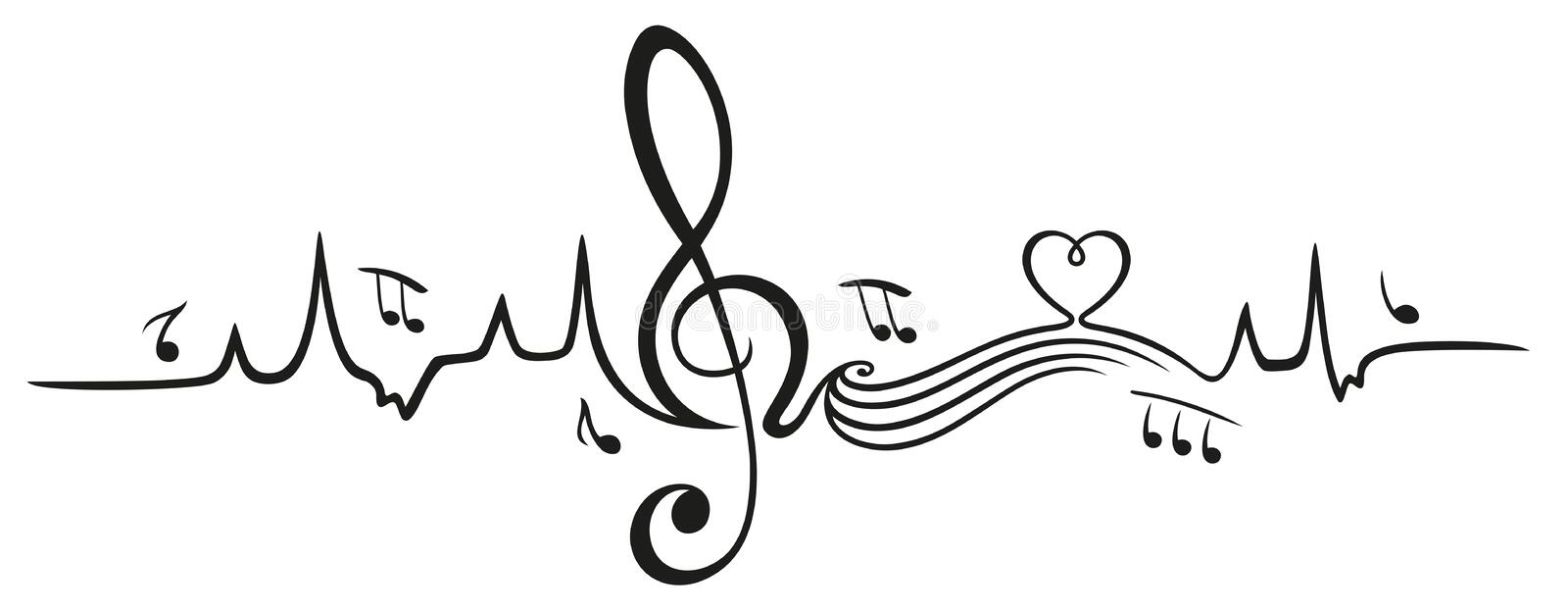Heartbeat, love for music vector illustration