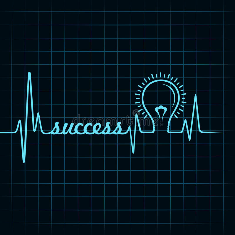 Heartbeat make success word and light-bulb. Stock vector royalty free illustration