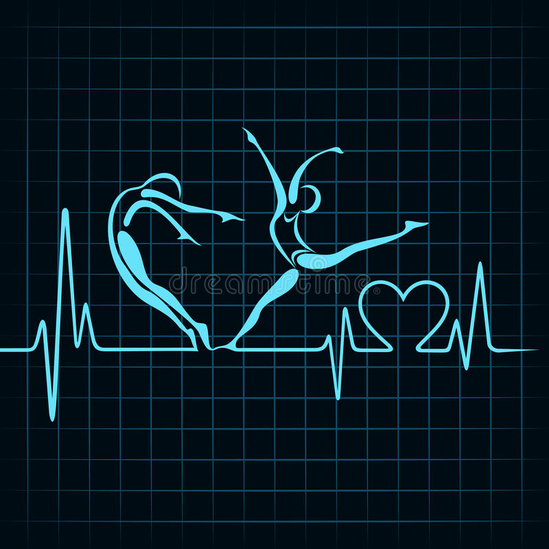 Heartbeat make a yoga girl and heart symbol vector illustration