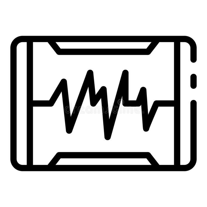 Heartbeat on the monitor icon, outline style. Heartbeat on the monitor icon. Outline heartbeat on the monitor vector icon for web design isolated on white vector illustration