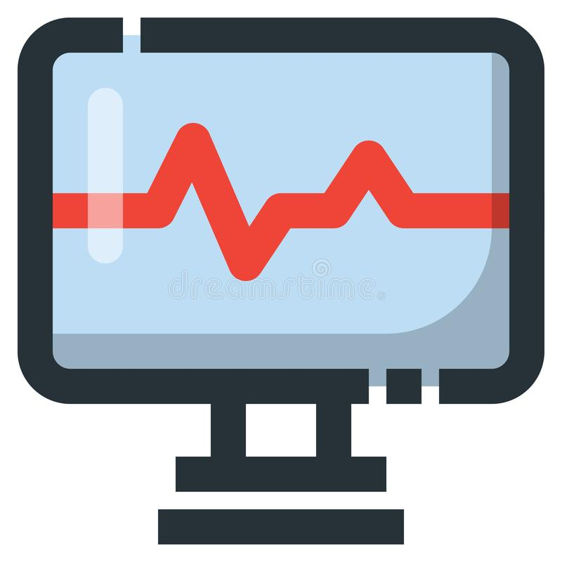 Heartbeat Monitor Vector Filled Line Icon 32x32 Pixel Perfect. E. Ditable 2 Pixel Stroke Weight. Colorful Medical Health Icon for Website Mobile App Presentation vector illustration