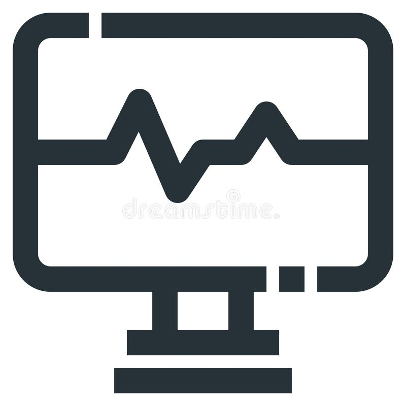 Heartbeat Monitor Vector Line Icon 32x32 Pixel Perfect. Editable. 2 Pixel Stroke Weight. Medical Health Icon for Website Mobile App Presentation royalty free illustration