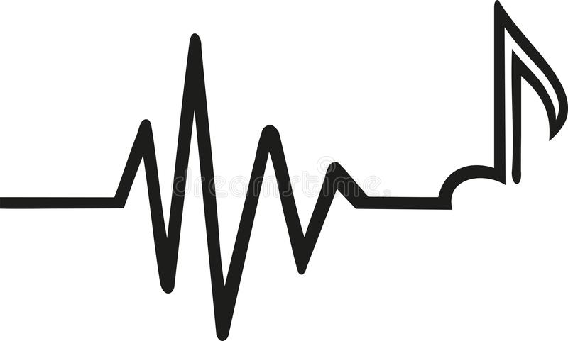 Heartbeat with music note. Vector royalty free illustration