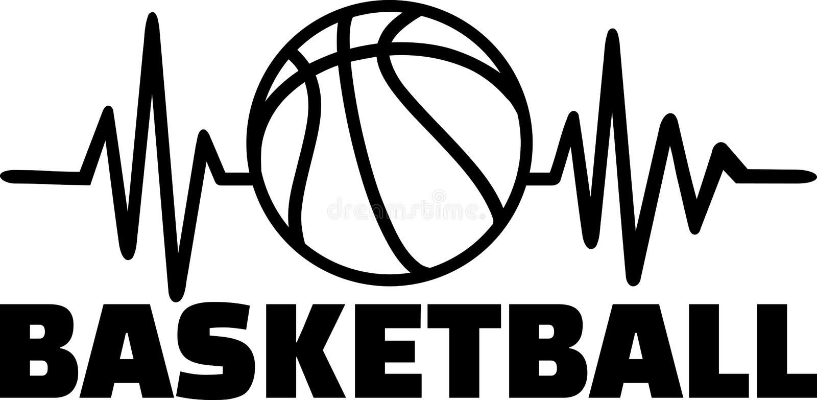 Basketball heartbeat line. Heartbeat pulse line with basketball stock illustration