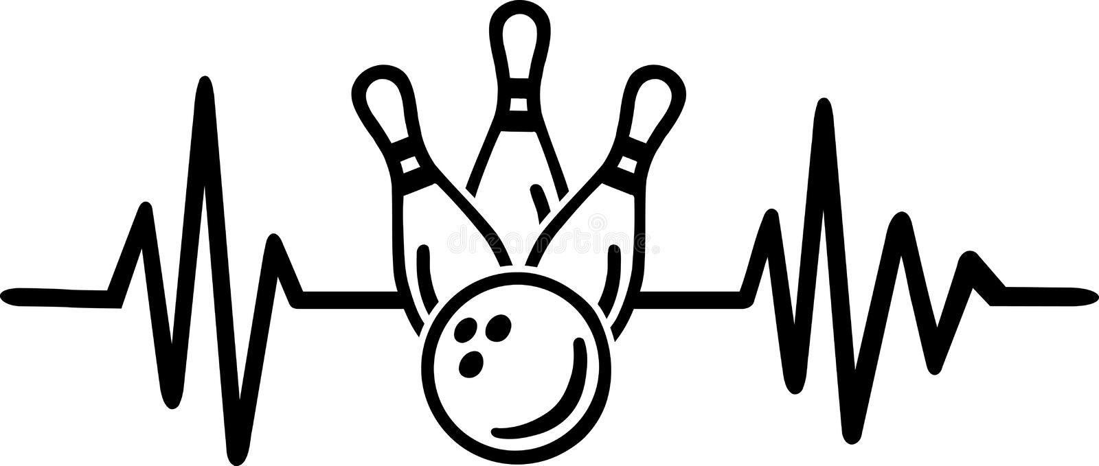 Bowling heartbeat line with german word. Heartbeat pulse line with bowling word and bowling ball and pins stock illustration