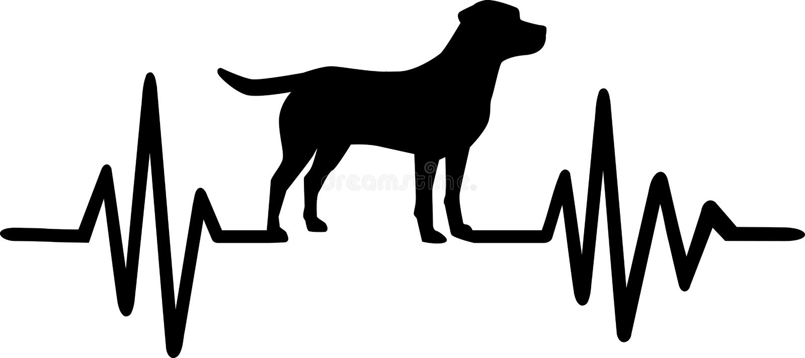 Dog heartbeat line with labrador. Heartbeat pulse line dog with labrador silhouette black stock illustration