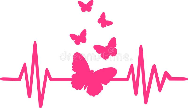 Butterfly heartbeat line with butterfly swarm. Heartbeat pulse line pink with butterfly swarm stock illustration