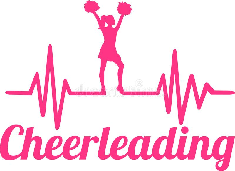 Cheerleading heartbeat line. Heartbeat pulse line pink with cheering cheerleader stock illustration