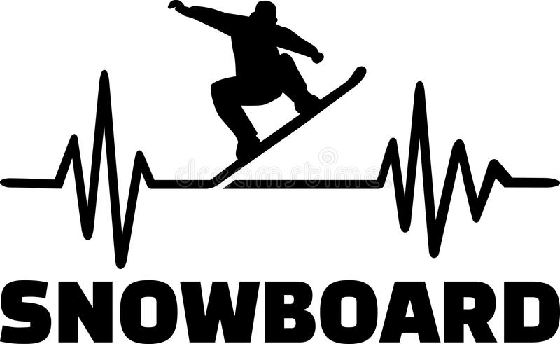 Snowboard heartbeat pulse. Heartbeat pulse line with snowboarder doing a trick stock illustration