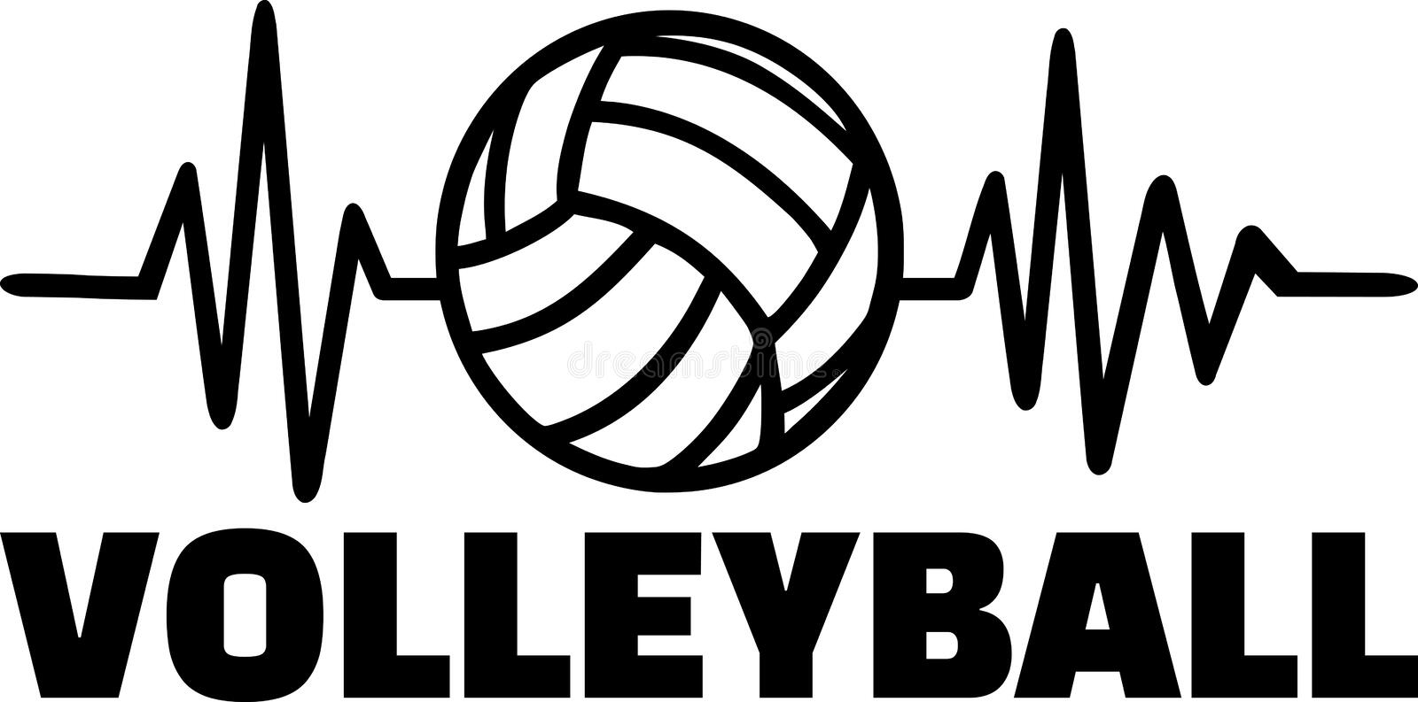 Volleyball player heartbeat line. Heartbeat pulse line with volleyball player and volleyball royalty free illustration