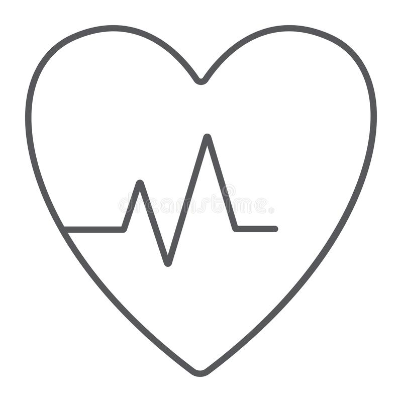 Heartbeat thin line icon, cardiogram and heart, pulse sign, vector graphics, a linear pattern on a white background. Heartbeat thin line icon, cardiogram and royalty free illustration