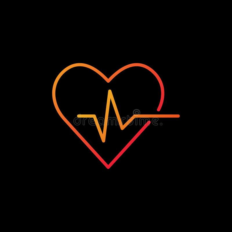 Heartbeat vector colored icon - heart rate outline symbol royalty free illustration