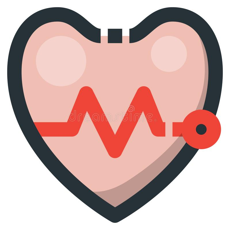 Heartbeat Vector Filled Line Icon 32x32 Pixel Perfect. Editable. 2 Pixel Stroke Weight. Colorful Medical Health Icon for Website Mobile App Presentation vector illustration