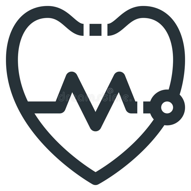 Heartbeat Vector Line Icon 32x32 Pixel Perfect. Editable 2 Pixel. Stroke Weight. Medical Health Icon for Website Mobile App Presentation vector illustration