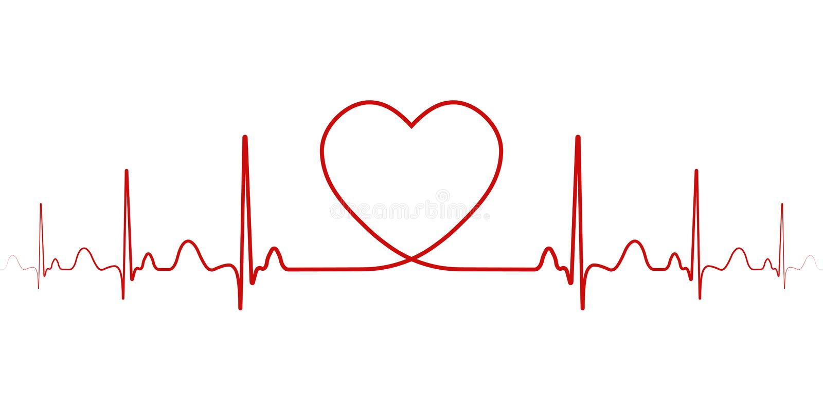 Heartbeat vector rhythm with heart one line, a symbol of positive emotions, love and inspiration, happy Valentine day. Heartbeat, vector rhythm with heart one stock illustration