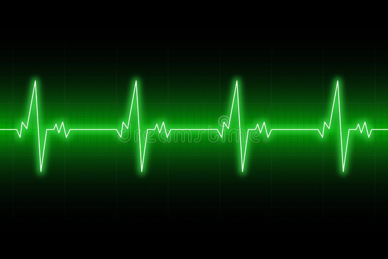 Heartbeats cardiogram. EKG heart line. Green electrocardiogram background. Vector. stock illustration