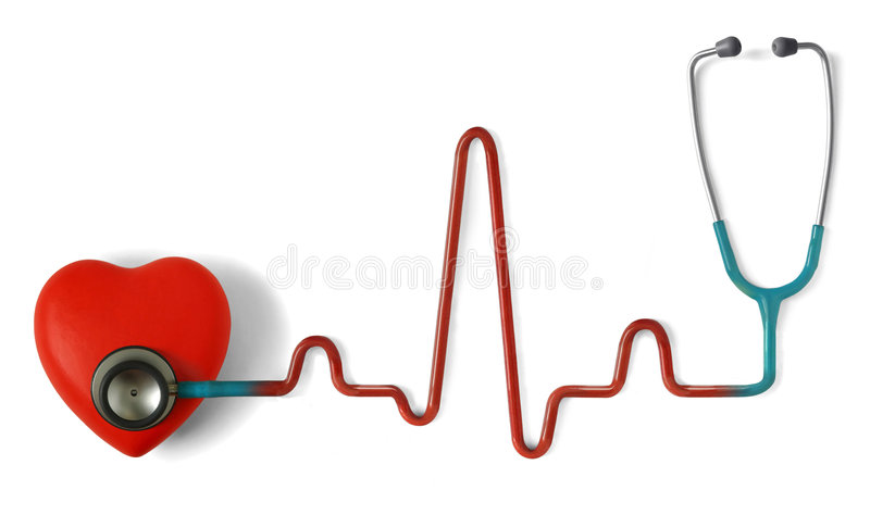 Heartcare. Heart and a stethoscope with heartbeat (pulse) symbol isolated in white background
