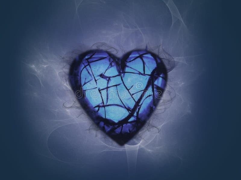 Hearted cassé entouré avec de la fumée illustration stock