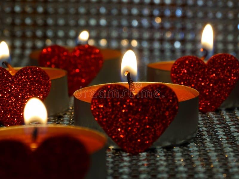 Hearted kaarsen royalty-vrije stock afbeelding