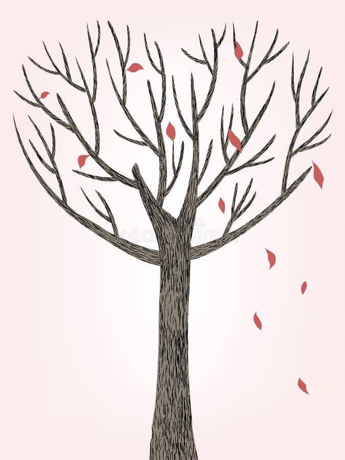 Hearted kształta drzewo royalty ilustracja