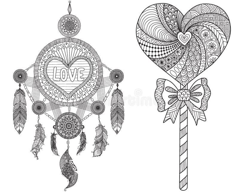 Hearted kształta sen lizak i łapacz royalty ilustracja