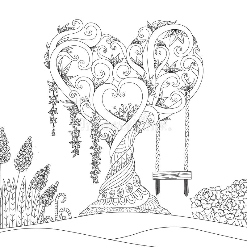 Hearted shape tree for design element and coloring book.Vector illustration stock illustration
