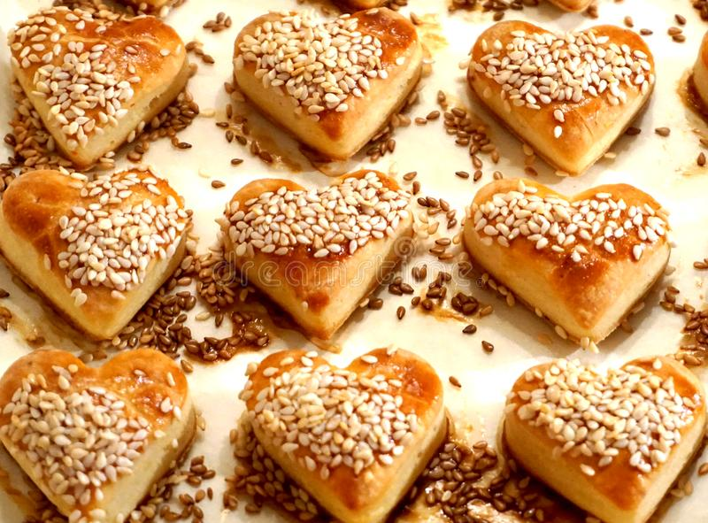 Hearth cookies with sesame royalty free stock image