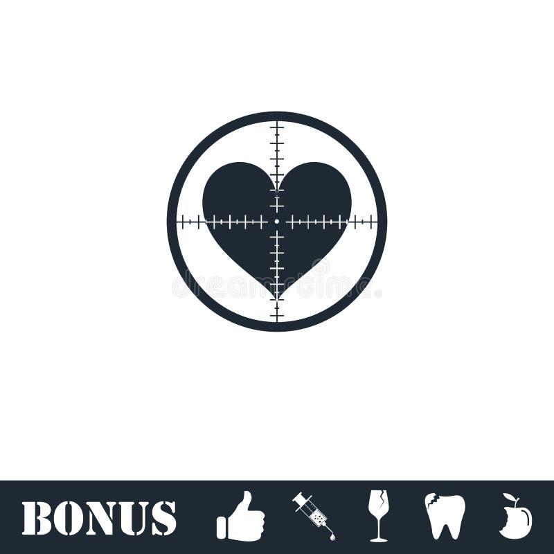 Hearth with crosshair icon flat. Vector illustration symbol and bonus pictogram royalty free illustration