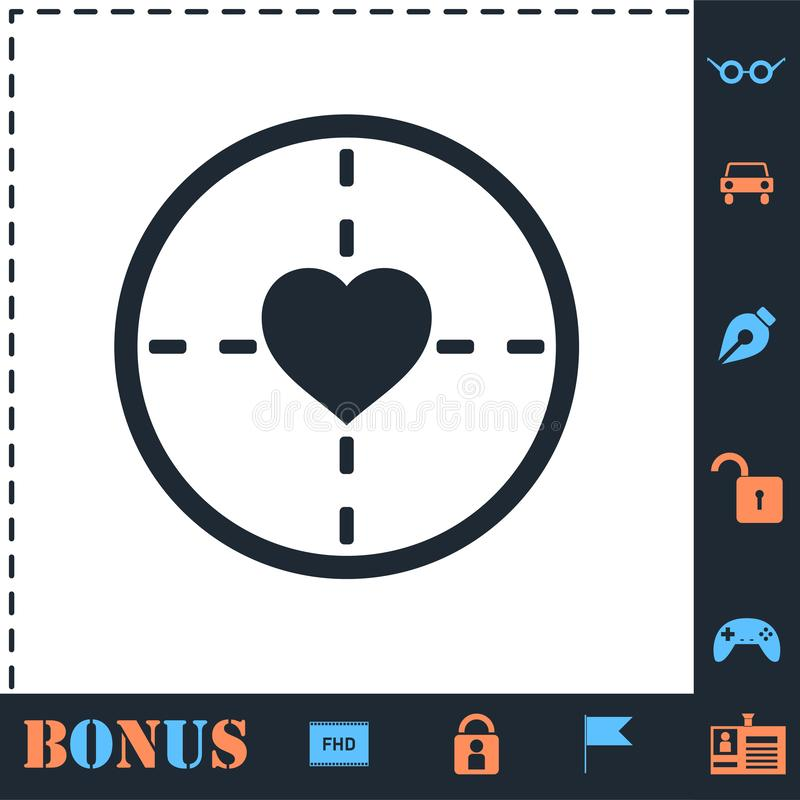 Hearth with crosshair icon flat. Hearth with crosshair. Perfect icon with bonus simple icons royalty free illustration