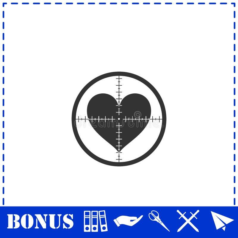 Hearth with crosshair icon flat. Simple vector symbol and bonus icon vector illustration