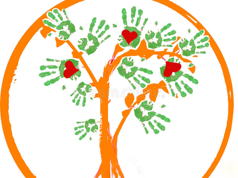 Hearths hands tree as a logo. stock image