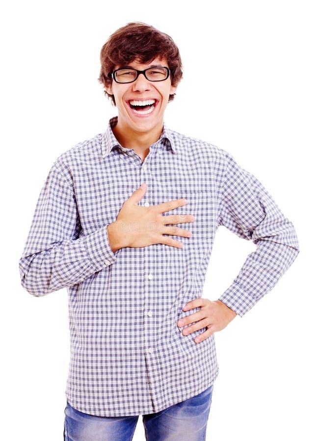 Heartily lachende jonge mens royalty-vrije stock foto