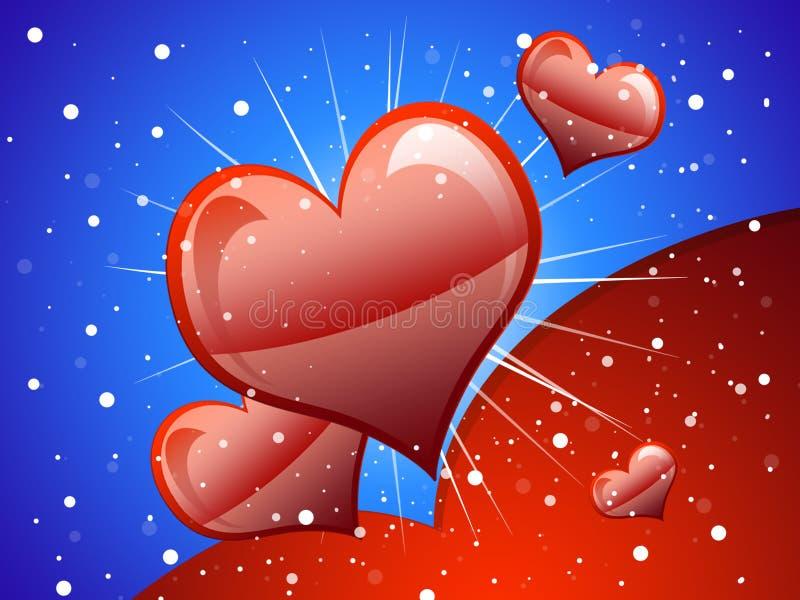 Hearts. Image vectorial representative a postcard of love stock illustration