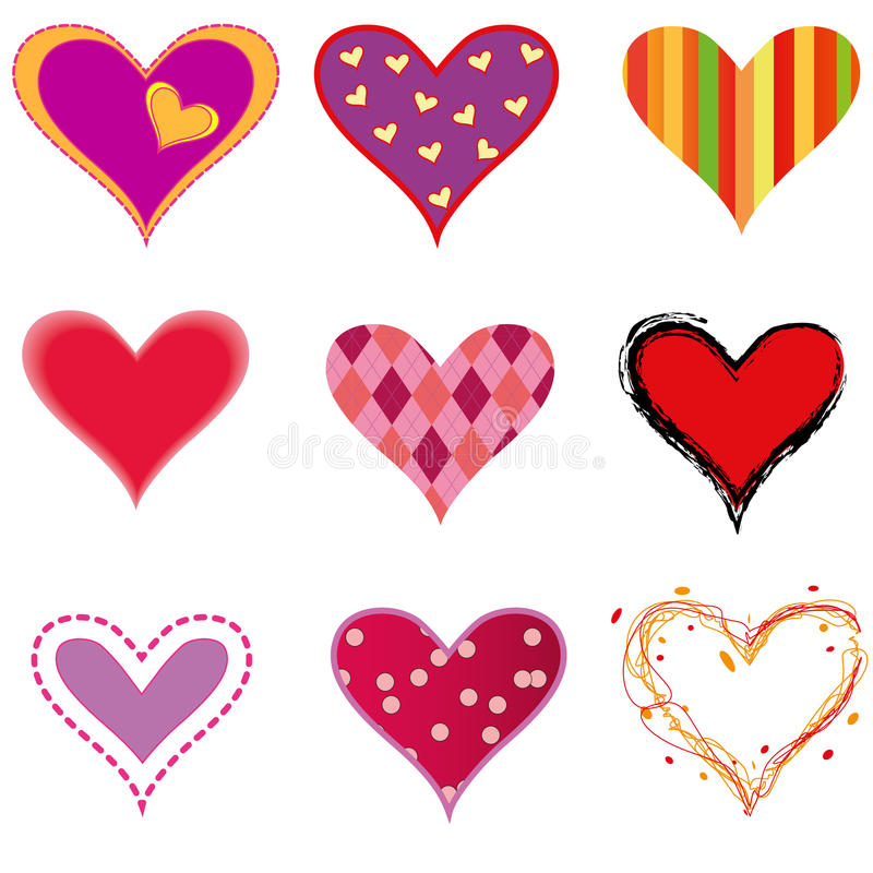 Hearts. Vector illustration of nine hearts in different styles royalty free illustration