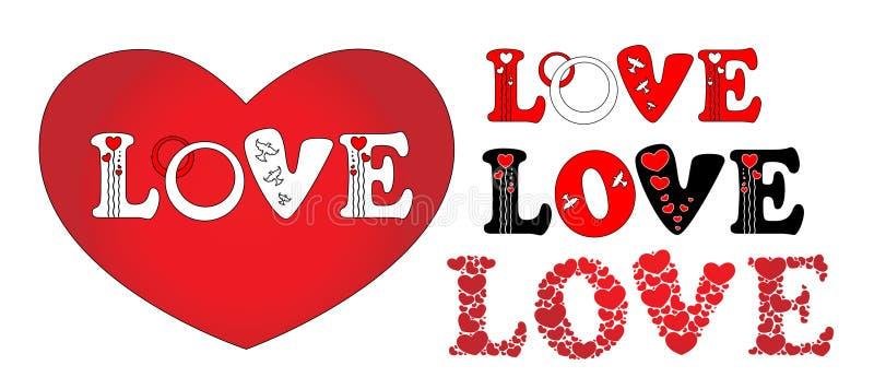 Hearts. Inscription love by beautiful hearts vector illustration