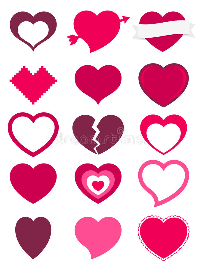 Hearts. A set of 15 hearts available in different colors, shapes and styles