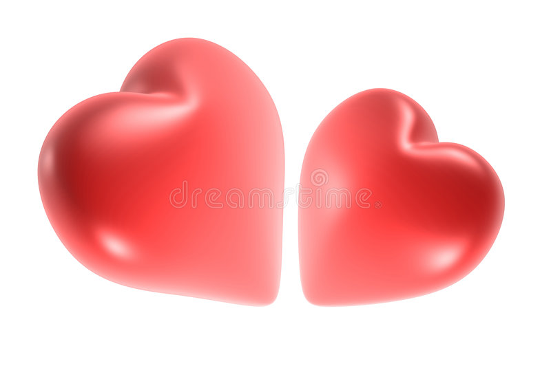 Hearts. Qualitative picture of two animation hearts. They can be cut out from a picture and to place on your composition vector illustration