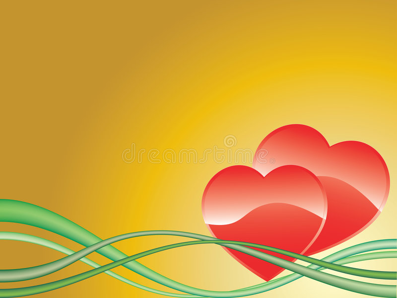 Hearts. Vector image of two red hearts on yellow background with green stripes stock illustration
