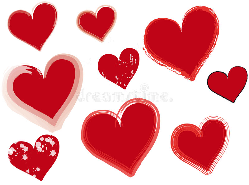 Hearts. Vector illustrations of hearts representing different types royalty free illustration
