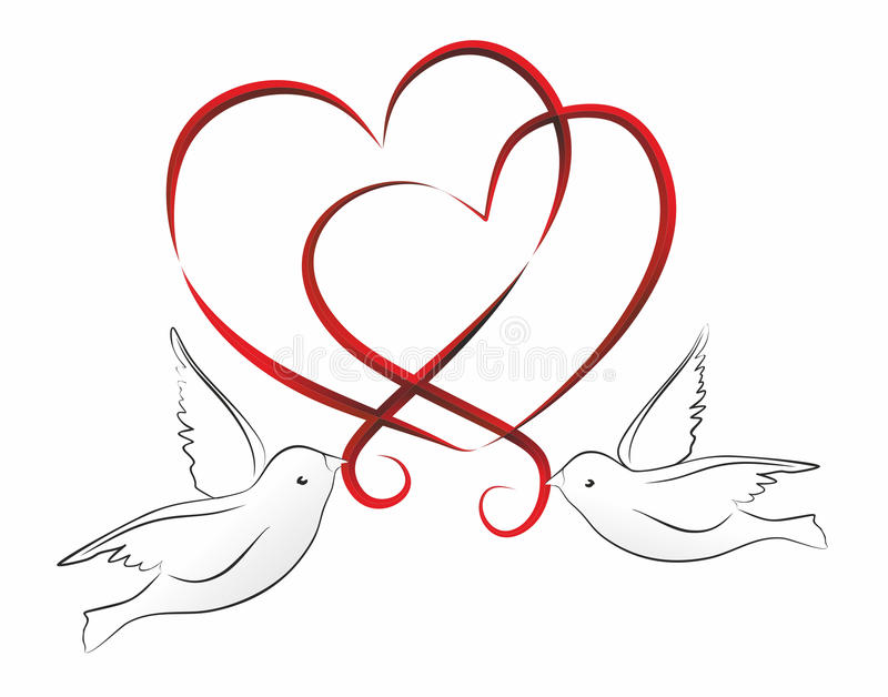 Download Hearts stock illustration. Image of just, wedding, pigeon - 34953938