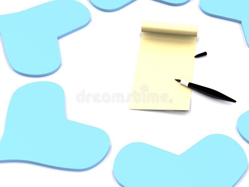 Download Hearts around letter stock illustration. Image of message - 7245137