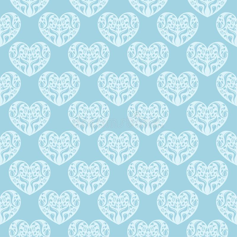 Hearts as seamless pattern. Blue and white romantic background stock illustration