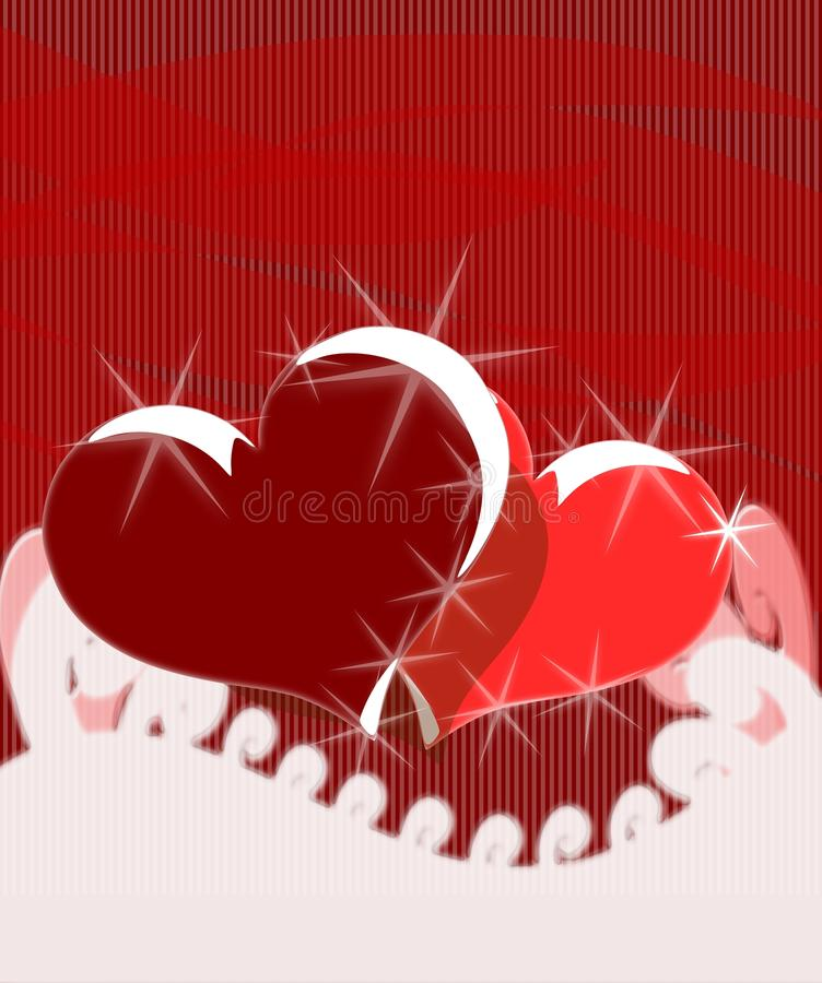 Download Hearts On Abstract Red Background Stock Illustration - Image: 17993414