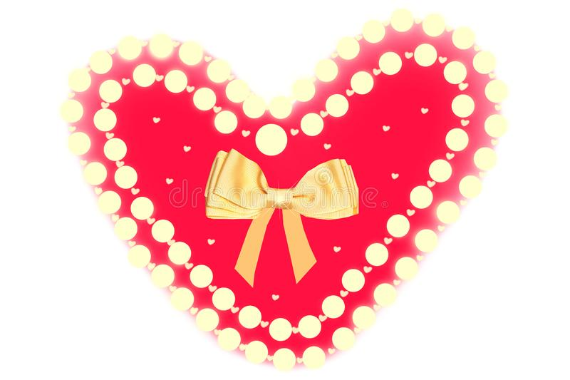 Hearts background. Cute abstract red hearts background with golden ribbon bow. Design element for valentine, wedding or other royalty free illustration