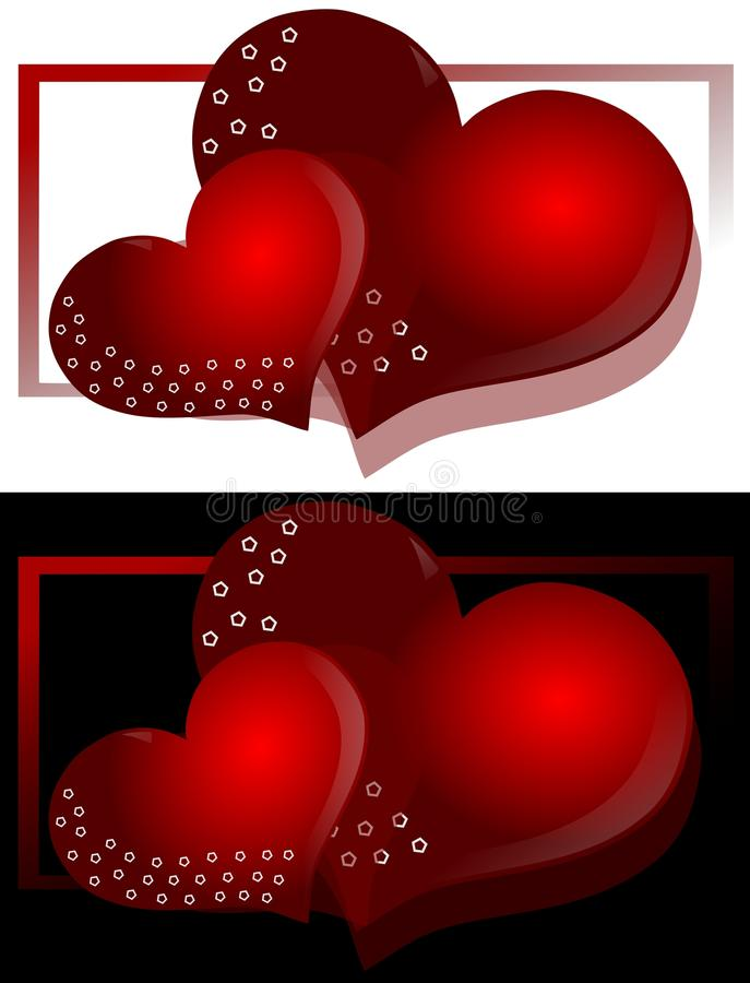 decorated Hearts on background stock illustration