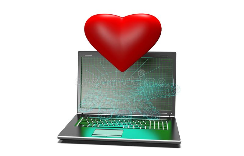 Hearts background on modern laptop isolated vector illustration